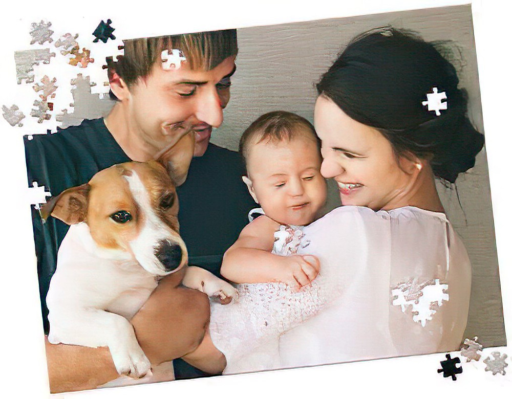 dog,baby,woman and man puzzle