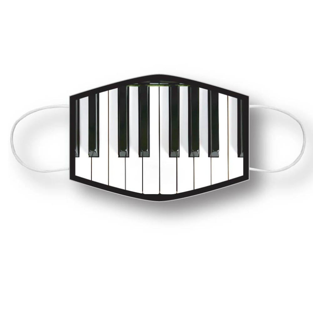 Face mask covering with a full keyboard design. The face mask is washable and reusable and is ideal for teens and adults.