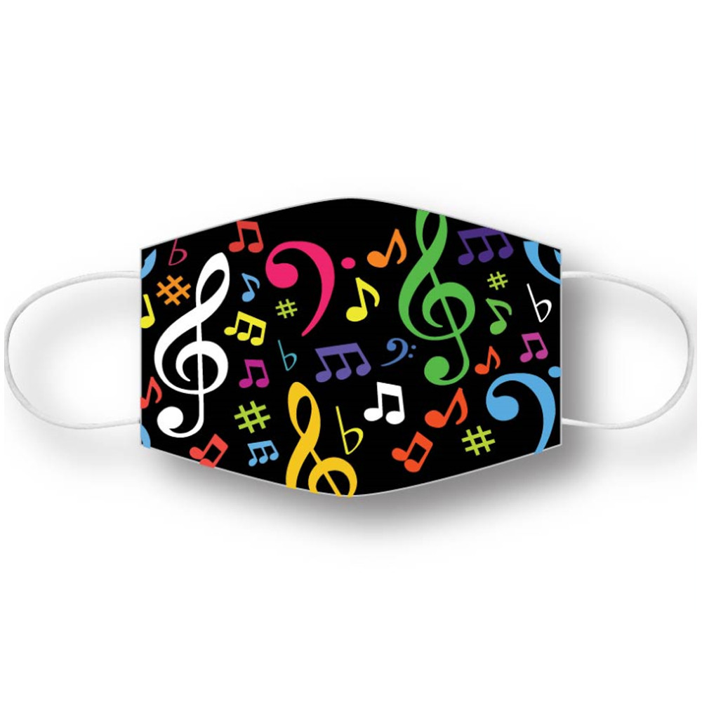 Face mask covering with a multi-colored notes design logo. The face maks is washable and reusable and is ideal for teens and adults.