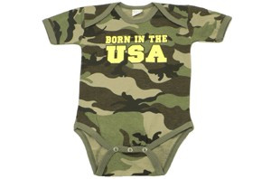 The Born In The USA Romper is the perfect way to get your child started in the right direction. This Romper is 100% cotton and is available in three sizes. Get your little soldier started today!