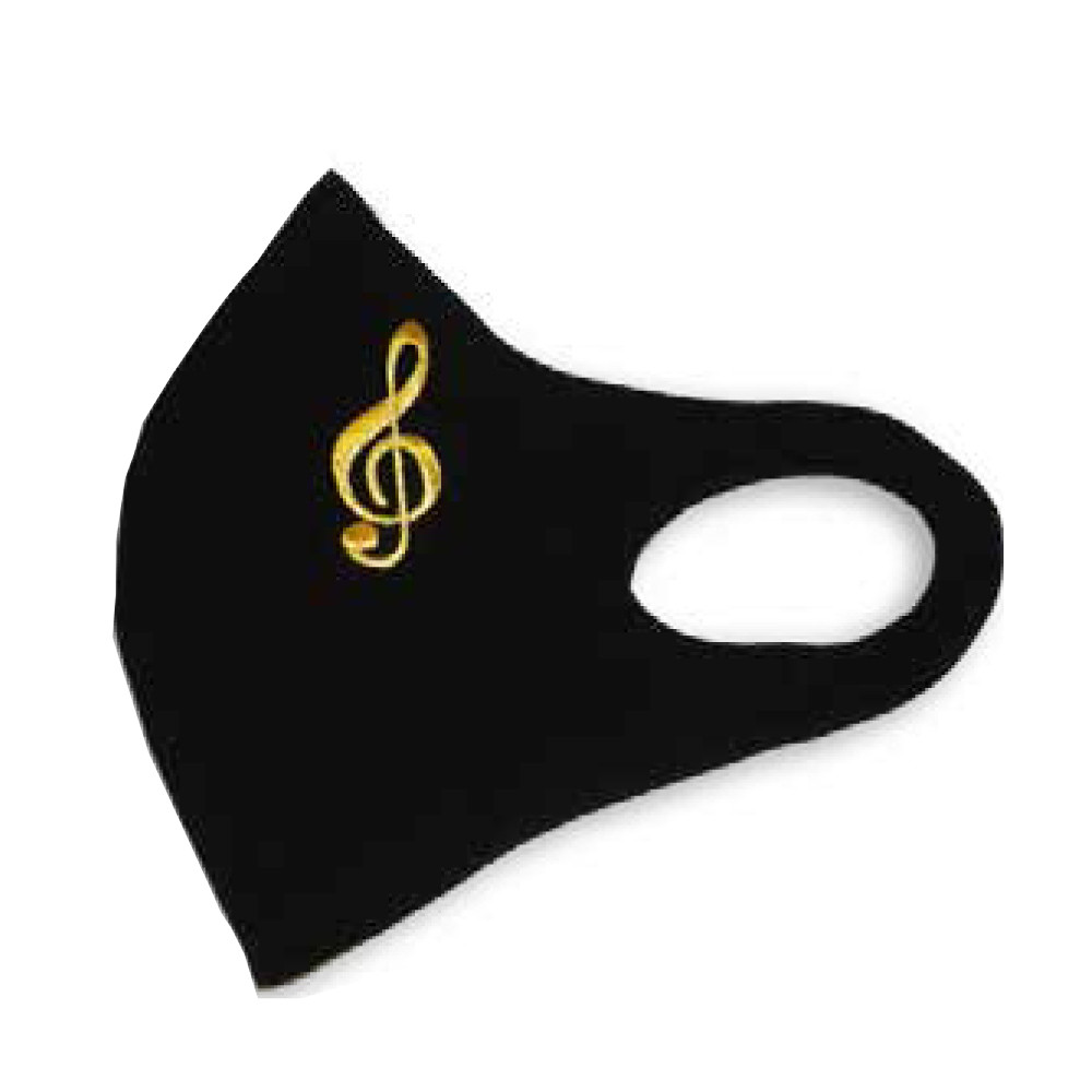 Face mask covering with a G-clef design logo. The face maks is washable and reusable and is ideal for teens and adults.