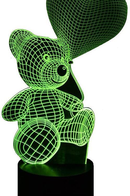 Teddy Bear with heart balloon lamp 3D LED