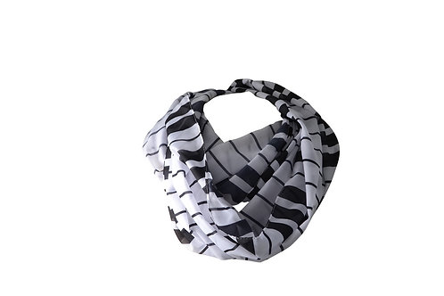INFINITY CHIFFON BLACK/WHITE SCARF (26 inches X 72 inxches)
