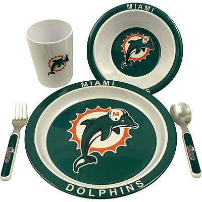 This dinner set includes a plate, bowl, cup, spoon and fork. The entire set is decorated in the Dolphins colors and logo. Get one for your kids today.