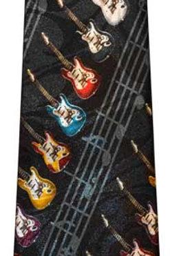Spiral Guitars and Staff Tie