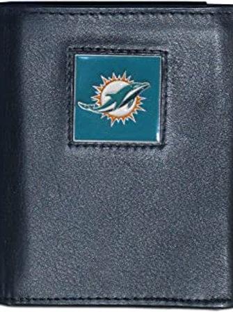 Siskiyou Sports Leather Miami Dolphins Tri-fold Wallet