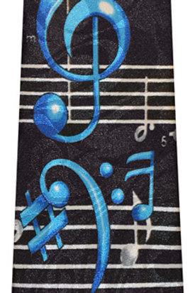 Black and Blue Music Note Tie
