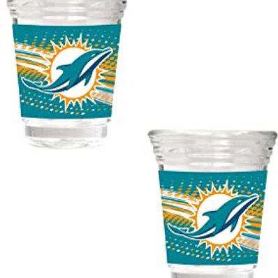 Miami Dolphins 2-Piece 2oz. Party Shot Glass Set