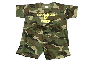 The Commander In Chief Toddler set is the perfect way to get your child started out in the right direction. This Commandere In Chief set comes with shirt, pants, and visor. This Toddler set is 100% cotton and comes in three sizes.
