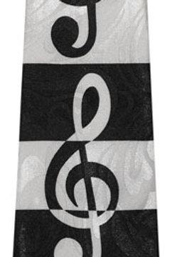 Black & White G-Clef Tie