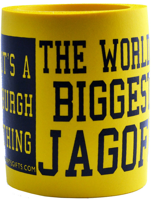 BEER CAN COOLER WITH THE WORLD'S BIGGEST JAGOFF