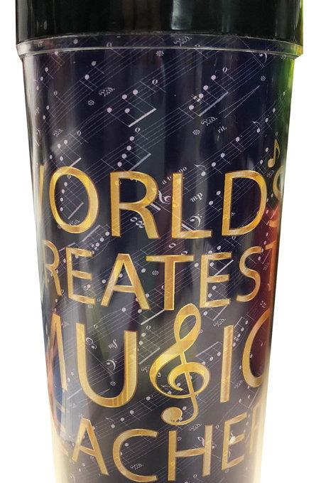 WORLD'S GREATEST MUSIC TEACHER TRAVEL TUMBLER (16 FL OZ)