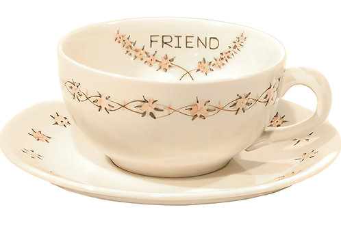 "Cup /Saucer Set ""Friend"""