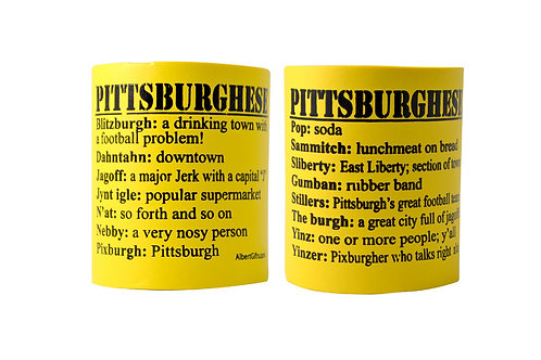 BEER INSULATED CAN COOLER PITTSBURGHESE YELLOW