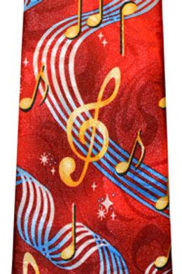 Red G-Clef & Staff Tie