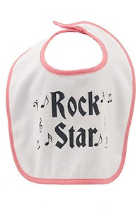"""Start your child out on the right path to becoming a Rock n' Roll star! This Bib measures 10.5"""" tall x 9.0"""" wide"""