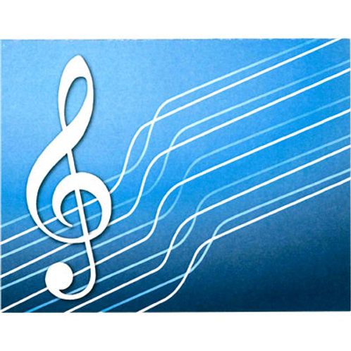 NOTE CARDS G-CLEF BLUE 4.25 X 5.5 8/BOX