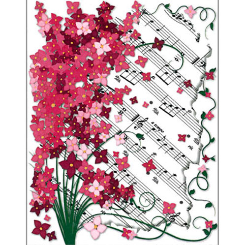 NOTE CARDS FLORAL SHEET MUSIC 4.25 X 5.5 8/BOX