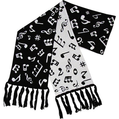 "SCARF MUSIC NOTES FINE KNIT 66"" X 9"""