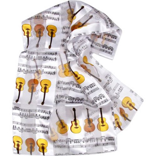 """SCARF S/S GUITARS/NOTES WHITE W/BROWN 14""""X 60"""""""