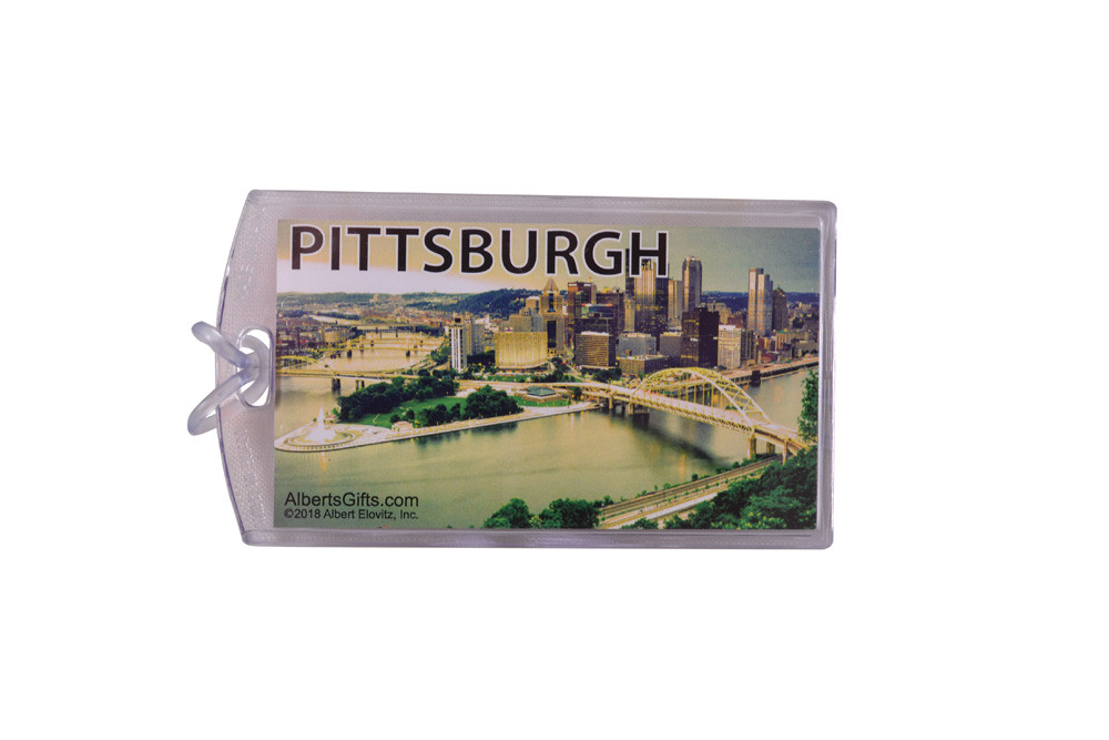 """A one-of-a-kind id tag for the Pittsburgher on the go. Features the pittsburgh skyline. 4""""X2.5"""""""