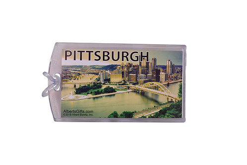 """ID Tag Pittsburgh Skyline Picture 4""""X2.5"""""""