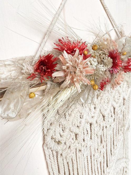 Deco fiori secchi su macramè NON handmade