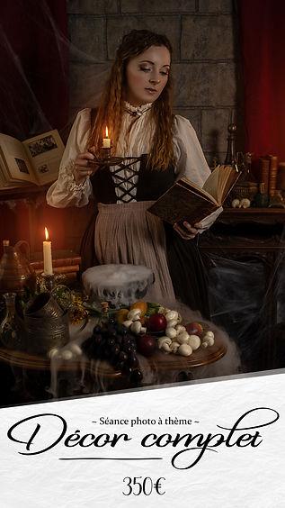 Séance photo décor complet mise en scène art robe et costume d'époque Paris