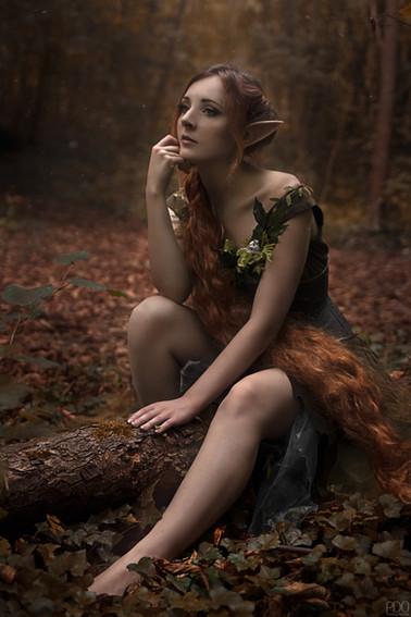 Elfe des bois avec longue cheveleur