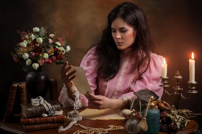 Séance romantique en costume Edwardien effet boudoir