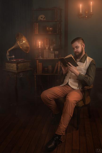 Ambiance avec fumée et gramophone