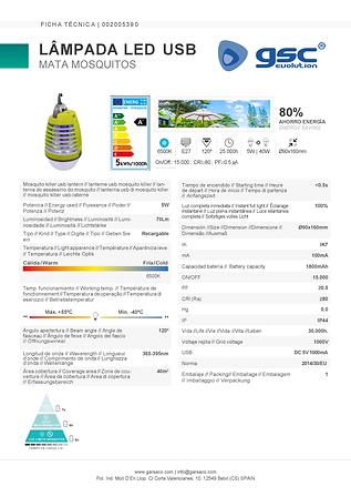 Lâmpada LED USB mata mosquitos