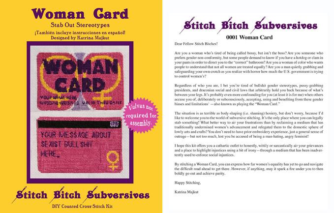 Woman Card by Katrina Majkut, 2017, Thread, aida cloth, paper, needle in plastic sleeve