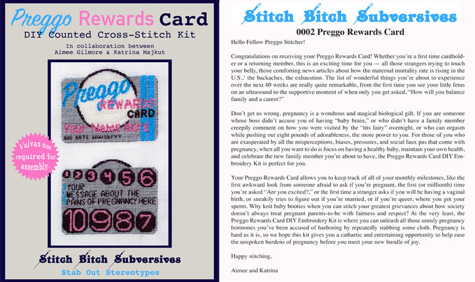 Preggo Rewards Card by Aimee Gilmore and Katrina Majkut2019, Thread, aida cloth, paper, needle in plastic sleeve