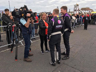 Live interviews at the rally finish in C
