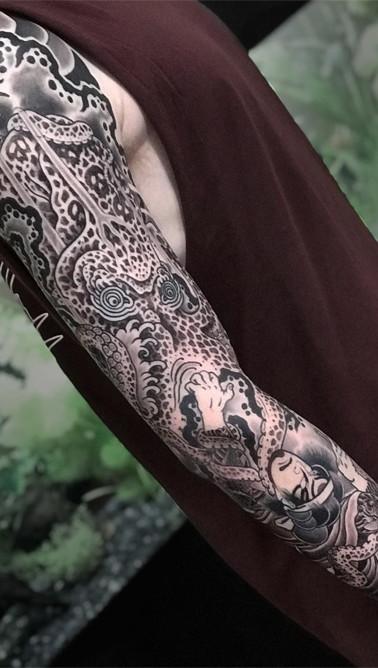 Japanese Octopus sleeve tattoo
