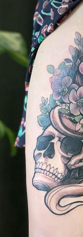 skull snake floral thigh tattoo design sexy