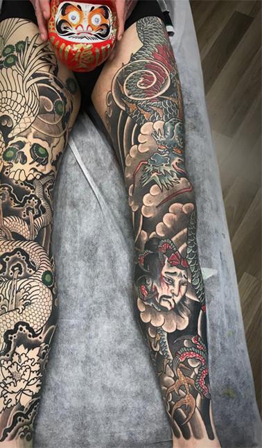 Japanese Leg sleeve tattoo