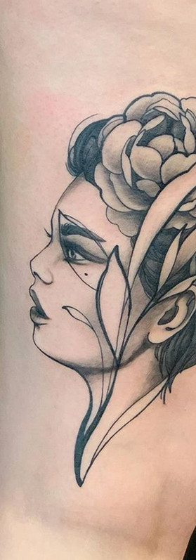Neotraditional girl portrait tattoo