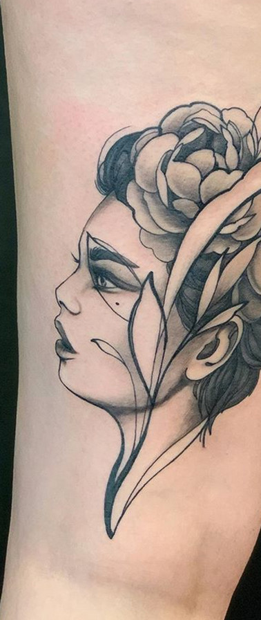 Neotraditional girl portrait tattoo