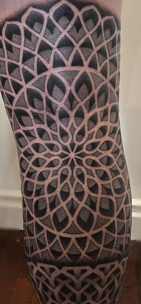Geometric patternwork sleeve giant dotwork tattoo sydney