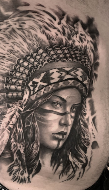 Indian headdress girl tattoo