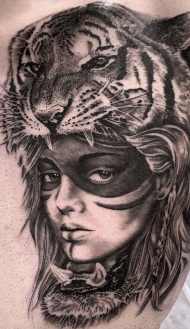 tiger warrior headress tattoo