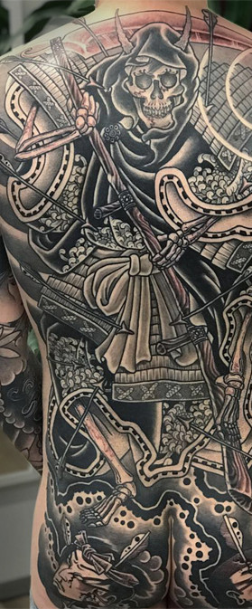 Amazing Japanese Reaper back piece tattoo Amazing Ink