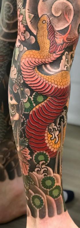 Amazing Snake Japanese tattoo