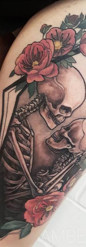 the lovers tarot card Skeleton tattoo