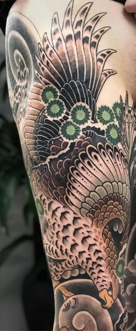 Eagle Leg sleeve Japanese tattoo