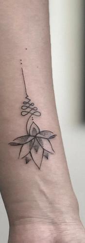 Unalome delicate tattoo small Sydney