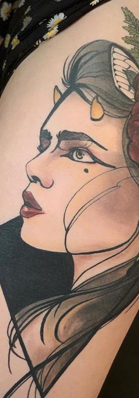 Neotraditional girl tattoo Sydney