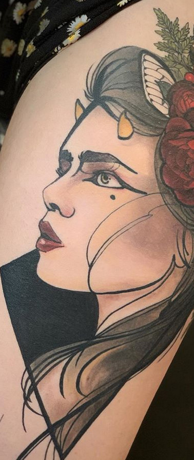 Neotraditional girl tattoo Sydney
